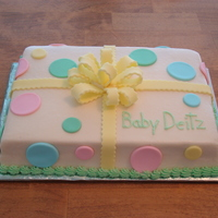 Baby Gender Reveal Cake 1/4 sheet cake vanilla butternut pound cake - sliced into 2 layers and tinted pink icing as filing, finished in buttercream icing with...
