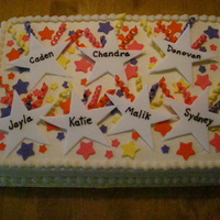 12 Sheet Cake For Confirmation Class 12 Chocolate Cake Amp 12 Yellow Cake With Vanilla Buttercream Icing Stars And Ribbons Made Wit 1/2 Sheet Cake for Confirmation Class. 1/2 Chocolate Cake & 1/2 Yellow Cake with Vanilla Buttercream Icing. Stars and ribbons made with...