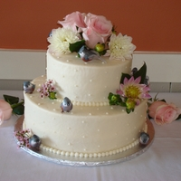 Kara's Wedding Cake 2-Tier Wedding Cake, Vanilla Butternut Pound Cake with Vanilla Buttercream Icing decorated with fresh flowers and Tufted Titmice cake...