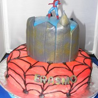 Spiderman Cake For a 5yr old that loved Spiderman. Found a wonderful little toy at the store that was perfect as the topper. Funfetti cake with...