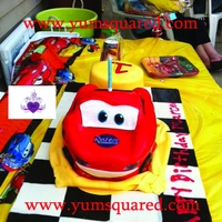 Lighting Mcqueen Cake  A 3d lighting mcQueen cake. The cake was a chocolate and vanilla cake with a vanilla bean milkshake frosting and covered in fondant along...