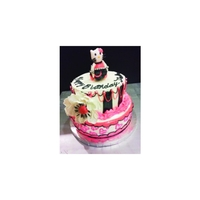 Hello Kitty Pink & Black Cake  I created this Hello Kitty cake for a Client that was doing a pink and Black Hello Kitty party for her daughter. The Hello Kitty was 100%...