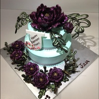 Chinese Style Cake With Chocolate Peony Flowers Chinese style Birthday cake with 3D Chocolate petals Peony FlowerLeaves in Chocolate LaceInitial Chocolate plaque Chocolate Little peonies...