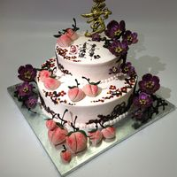 "Chinese Birthday Cake With Cherry Blossom Chinese style Birthday cake with 3D Cherry flower in chocolate Chocolate ""Shu"" plaque meaning Logevity Chocolate lace in cherry..."