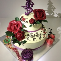 "Chinese Style Birthday Cake With Camellias Chinese style Birthday cake with 3D Camellias flower Chocolate ""Shu"" plaque topper, meaning Logevity A pair of longevity peaches..."