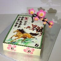 Chinese Style Cherry Blossom Birthday Cake With Cherry Blossom Flowers Drawing With Chinese Painting Of Horse Running With 3D Chocolate C Chinese style Cherry blossom birthday cake With Cherry Blossom flowers drawing With Chinese painting of Horse running With 3D Chocolate...