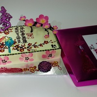 Chinese Style Cherry Blossom Birthday Cake With 3D Chinese Logevity Plaque With 3D Cherry Blossom Flowers With Birds Drawing With Chocolat... Chinese style Cherry blossom birthday cake With 3D Chinese Logevity PlaqueWith 3D Cherry Blossom flowersWith birds drawingWith Chocolate &...