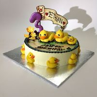Birthday Cake With Passion Fruit Cheese Stuffed Chocolate Ducklings Birthday cake with passion fruit cheese stuffed chocolate ducklingsWith cherry blossom Chocolate plaque