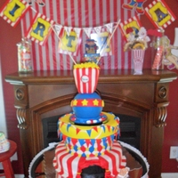Rotaing Circus Cake Made for my sons 5th Birthday Carnival. the top two tiers rotated