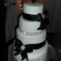 Black And White Wedding Sugar diamonds and gum paste broaches