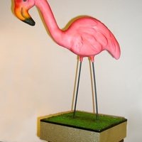 """featherstone"" The Pink Flamingo Kitsch Lawn Ornament Cake  Birthday present for my best friend: Featherstone, the pink flamingo kitsch lawn ornament cake. A little larger than life size, he's..."