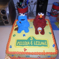 Elmo And Cookie Monster. Elmo and cookie monster cake for a 3rd birthday.