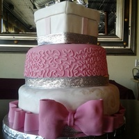 Diamond Topped Bling Shower Fondant Cake With Pink Pearl Painted White And Silver Ribbon   Diamond topped 'Bling' shower fondant cake with pink, pearl painted white and silver ribbon.