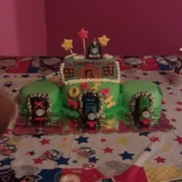 Thomas The Train Cake mom didnt want fondant trains she wanted him to keep the toys