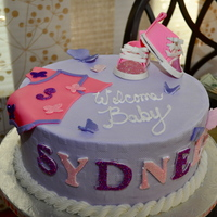 Baby Syndee Baby shower cake done for a friend. I got the template for the shoe here on CC