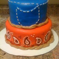 Western Themed Baby Shower Western themed baby shower cake for my sister! Blue jean and bandana. Didn't turn out quite like I wanted it to but I was ok with it!...