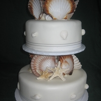 Jess A beach theme cake with natural shells.