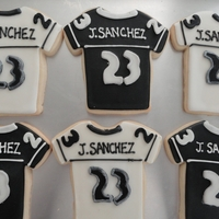 Raider Football Jersey   vanilla sugar cookies with royal icing. cut out fondant for the numbers