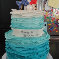 Ombre Ruffle Mermaid Cake   my first attempt at this. added tylose to the mmf, but it was still a bit floppy