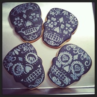 Chalkboard Sugar Skull Cookies  I used Arty McGoo's chalkboard technique to hand paint these sugar skull cookies. Thanks for letting me share. Hope you enjoy!! XO...