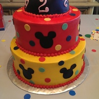 Minnie Mouse Cake 2 Tier Buttercream Covered Cake With Fondant Accents Minnie Mouse Cake 2 tier buttercream covered cake with fondant accents