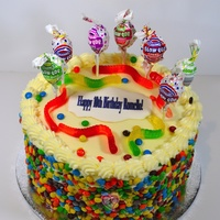 Candy Cake   Candy cake encrusted with mini m&ms.