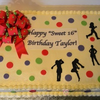 "This Cake Was For A Sweet 16 The Birthday Girl Runs Track Models Dances Amp Golfs The Silhouettes Dots And Bow Are All 5050 This cake was for a ""sweet 16"". The birthday girl runs track, models, dances & golfs. The silhouettes, dots and bow are all..."
