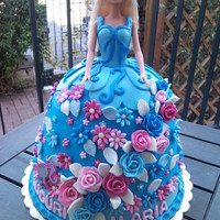 Blue Barbie Doll Cake
