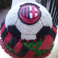 Milan Soccer Team Cake Two tier vanilla sponge cake, the bottom was filled with 1 layer of nutella cream and the other one with chantilly cream and chocolate...