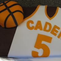 Basketball Birthday Birthday cake for a 5 year old who LOVES his basketball! Chocolate cake w/ Chocolate BC, fondant details, ball is RKT covered with fondant...