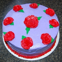 "Purple And Red Rose Cake I made this cake for a woman who was pregnant and having a ""non-traditional"" baby shower. She wanted it to be simple and purple..."