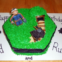 Miner Birthday Cake  This is a birthday cake I made for my Uncle Rusty, who is a miner in West Virginia. It is a double layer chocolate cake with buttercream,...