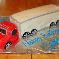 Red And White Semi Truck Cake This is a Tractor trailer truck cake I made for my daddy for his birthday. He drives for a living and requested one. I made it freehand and...