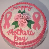 Breast Cancer Mother's Day Gum paste roses, MM fondant, buttercream icing, sugar free chocolate cake made for my boyfriends mother who loves anything with the pink...