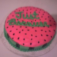 Watermelon Watermelon flavored cake with buttercream frost, MM fondant, and ainted seeds & stripes.