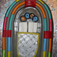 Jukebox Cake CSM: Banana cake with strawberry filling and french vanilla BC... Made this Jukebox for a friend of mine.