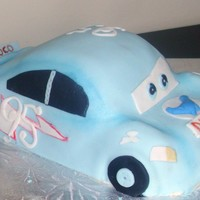 Blue Lightning Mcqueen CSM: I think this was from the part of the movie where Lightning McQueen was dreaming about being on the Dinoco team. WASC cake with french...