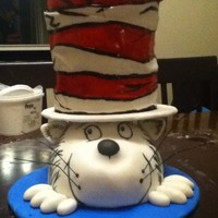 Cat In The Hat Cake! CSM: This is not an original design, I found a picture of a cake on Flikr, and copied the design. I am very happy with how this turned out...