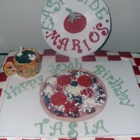 East Side Mario's Cake I made this cake for a girl who likes Coffee, Pizza and East Side Mario's, so i combined all three!