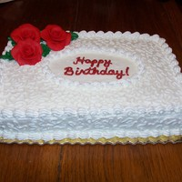 Cornelli Lace And Red Roses Birthday cake for group Senior Living Birthday. First attempt at a decorated cake in over 20 years, but everything is easier with...