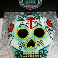 Mexican Sugar Skull Cake white fondant and black icing.