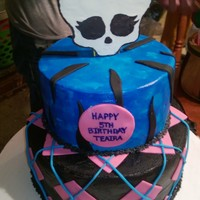 Buttercream Covered Cake With Fondant Accents And A Chocolate Skull I Made On Top Buttercream covered cake with fondant accents and a chocolate skull I made on top