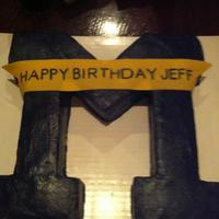 I Carved The M From A Square Cake That I Dyed The Batter Golden Michigan Yellow Surprise When You Cut The Cake Covered It In Navy Blue Ti I carved the M from a square cake that I dyed the batter golden Michigan yellow (surprise when you cut the cake), covered it in Navy blue...
