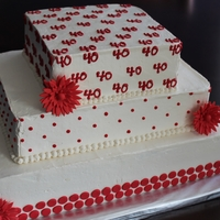 Red & White 40Th Birthday Cake