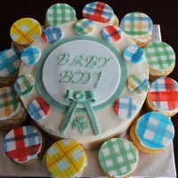 Plaid Baby Shower Cake Cake was requested to mimic the quilt that was part of the baby's bedding