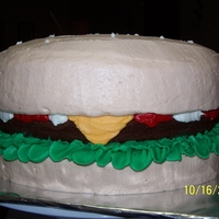 Giant Cheeseburger 10 inch rounds ...2 white and the burger choclate. all buttercream decor