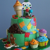 Candy Land   all buttercream Candy Land with hershey choc bar mountain