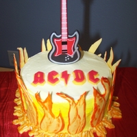 Acdc Cake ACDC bday cake..wooden guitar and royal icing flames