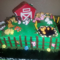 "14 Square Cakes Made Up The Farm With Butter Cream Frosting All Animals And Decorations Made Of Fondant Barn And Hay Bales Made Of Rice 14"" square cakes made up the farm with butter cream frosting. All animals and decorations made of fondant. Barn and hay bales made of..."