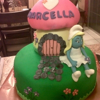 Smurfette Birthday Cake birthday cake with cupcakes, smurfette's house is also cake. thanks for looking!